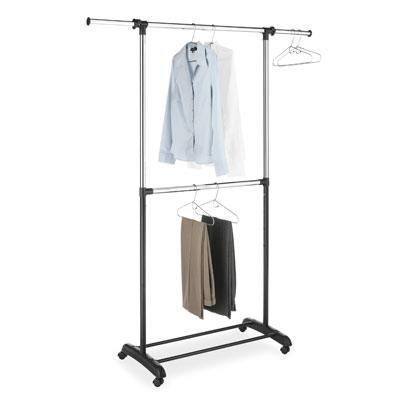 Adjustable 2-Rod Garment Rack in Ebony Chrome - 6021-3081