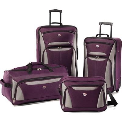 Fieldbrook II Four-Piece Luggage Set (Purple/Grey)