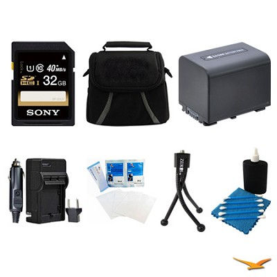 32GB SDHC/SDXC Card, Case, Battery, Battery Charger, Mini Tripod, and More