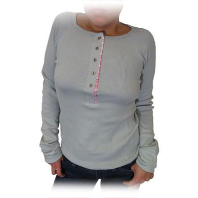 Women's Button Top Thermal Shirt - Grey (Size: XLarge)