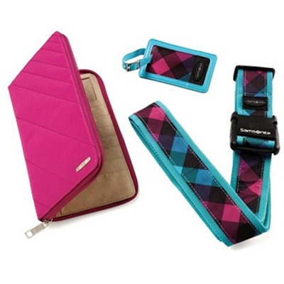 Travel Wallet and ID Kit - Teal / Pink Check