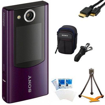 MHS-FS2 Bloggie Duo HD 4GB Purple Camera Camcorder w/ 2 LCD Screens Bundle
