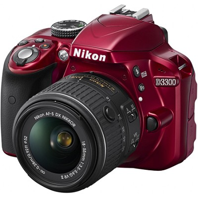 D3300 24.2MP 1080p Digital SLR Camera w/ 18-55mm VR II Lens (Red) Refurbished
