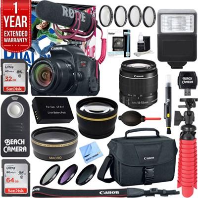 EOS Rebel T7i DSLR Camera Video Creator Kit w/ 18-55mm Lens Accessory Bundle