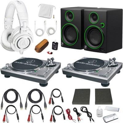 Professional Dual LP120USB Turntable Pro DJ Headphones/Speaker Bundle (Silver)