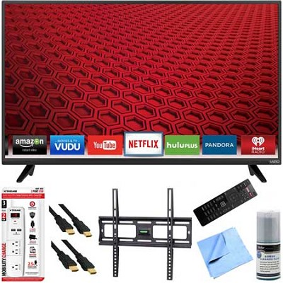 E43-C2 - 43-Inch E-Series 120Hz 1080p Smart LED HDTV Plus Mount & Hook-Up Bundle
