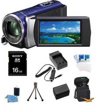 HDR-CX210 HD Camcorder 8GB Camcorder w/ 25x Optical Zoom (Blue) Bundle