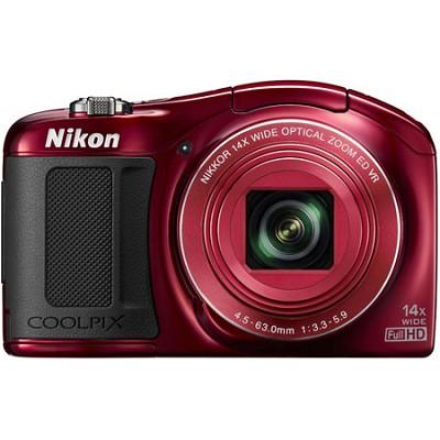 COOLPIX L620 18.1 MP CMOS 1080p Red HD Digital Camera - Factory Refurbished