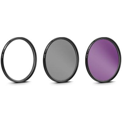 58mm 3 Piece Pro Level Lens Filter Kit - UV, FLD, Polarizer - FK58MM