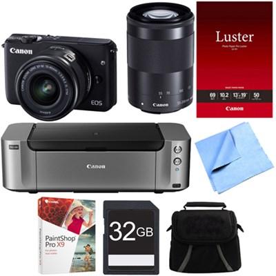 EOS M10 Camera w/ EF-M 15-45mm IS STM + EF-M 55-200mm IS STM Lens Printer Bundle