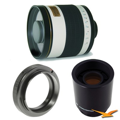 800mm F8.0 Mirror Lens for Sony Alpha / Minolta with 2x Multiplier (White)