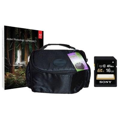 Lightroom 5, Sony 16GB SD Card, Digpro SLR Camera Bag