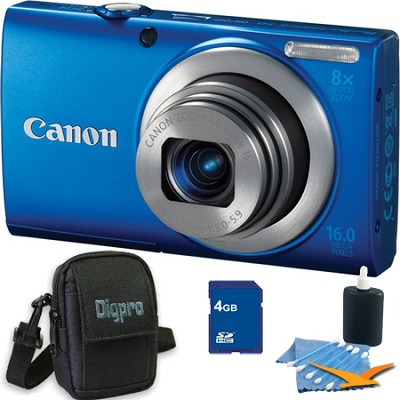 PowerShot A4000 IS 16MP Blue Digital Camera 4GB Bundle