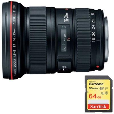 EF 16-35mm f/2.8L II USM Ultra Wide Angle Zoom Lens w/ 64GB Memory Card