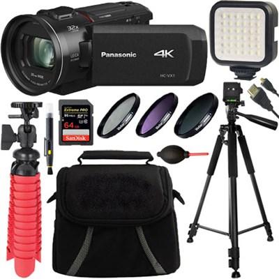 HC-VX1K 4K Ultra HD 24x Optical Zoom Camcorder w/ 25mm Lens + 64GB Accessory Kit