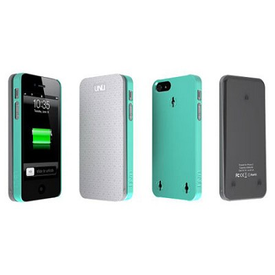 Ecopak iPhone 5 Case -Snap-on Case and Detachable Battery (Silver/Tiffany Blue)
