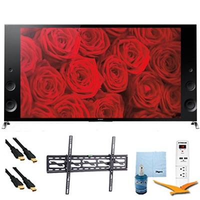 XBR65X900B - 65` 120Hz 3D LED Premium 4K Ultra HD TV Tilt Mount & Hook-Up Bundle