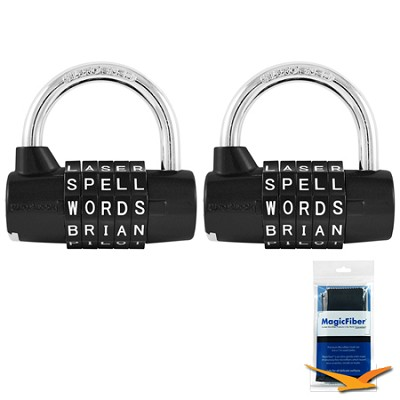 5-Dial Resettable Word or Letter Combination Padlock 2-Pack, Black Bundle