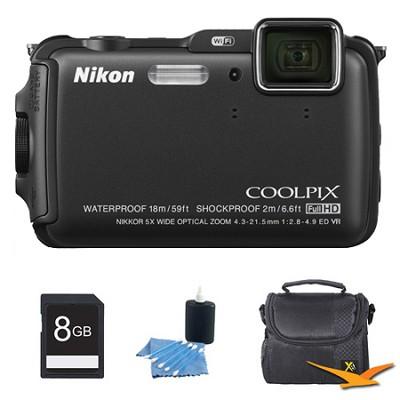 COOLPIX AW120 16MP Waterproof Shockproof Freezeproof Black Digital Camera Kit