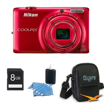 COOLPIX S6500 16 MP Digital Camera with 12x Zoom 8 GB Bundle (Red)