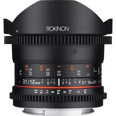 12mm T3.1 Full Frame Ultra Wide Cine DS Fisheye Lens for Nikon DSLR