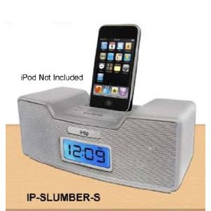 Dual Alarm Clock Radio & Speaker System for iPod (Silver)