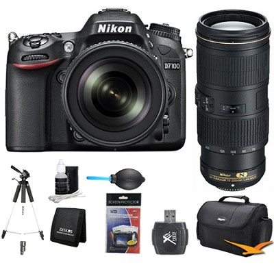 D7100 DX-Format Digital HD-SLR with 18-105mm and 70-200mm Lens Bundle