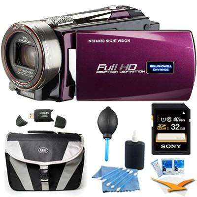 HD 16 MP Infrared Night Vision Camcorder - Maroon (DNV16HDZ-M) Plus 32GB Bundle