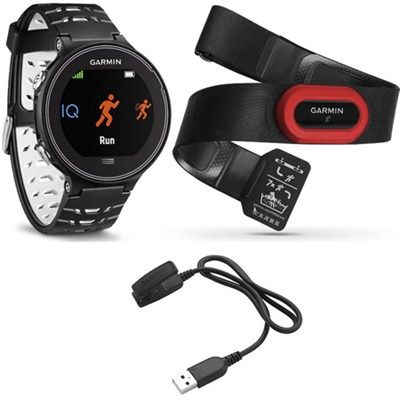 Forerunner 630 GPS Smartwatch w/ HRM-Run - Black/White - Charging Clip Bundle