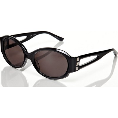 Black Sunglasses with Grey Lens and Keyhole and Stud Detail