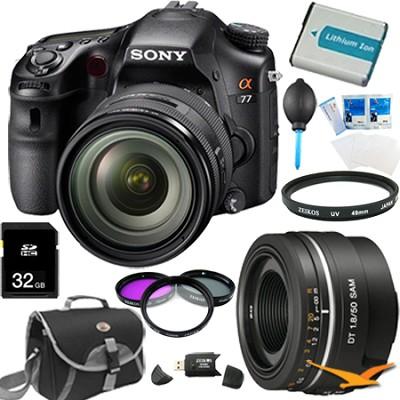 SLTA77VQ - a77 Digital SLR 24.3 MP with 16-50mm and 50mm f1.8 Lens Bundle