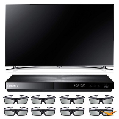 UN60F8000 60` 3D Slim Smart WiFi LED HDTV and 3D Blu-ray with 3D Glasses Bundle
