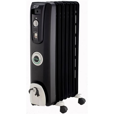 Safeheat 1500W ComforTemp Portable Oil-Filled Radiator Heater - Black