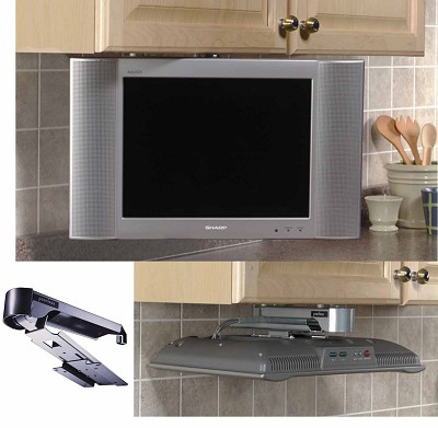 Under Cabinet Swivel Mount for select 13` and 15` LCD TV's {Black}