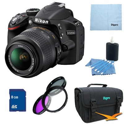 D3200 DX-format Digital SLR Kit w/ 18-55mm DX VR Zoom Lens Pro Kit (Black)