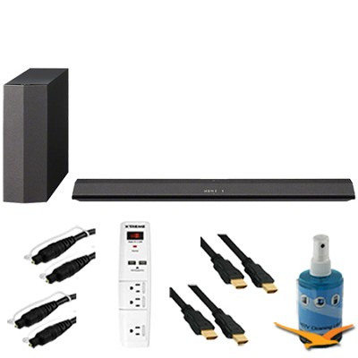 300W 2.1 Sound Bar with Wireless Subwoofer Plus Hook-Up Bundle - HT-CT370
