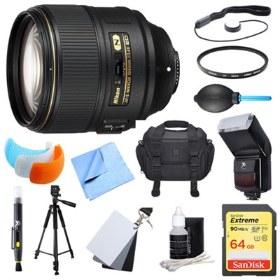 AF-S NIKKOR 105mm f/1.4E ED Lens. 64GB Card, Flash, and Accessories Bundle