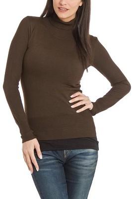 Turtleneck Sweater for Women - Color: Dark Brown / Size: XLarge