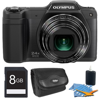 STYLUS SZ-15 16MP 24x SR Zoom 3-inch Hi-Res LCD Black Plus 8 GB Memory Kit