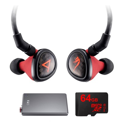 Special Edition Angie II Headphones by JH Audio, Red w/ FiiO E12 Pro Amps Bundle