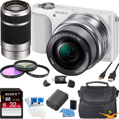 NEX-3NL Digital Camera  w 16-50, 55-210 Lens Ultimate Bundle (White)
