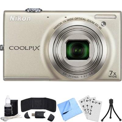 COOLPIX S6100 16MP Digital Camera w/ 720p Video (Silver) Refurbished Bundle