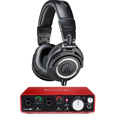 ATH-M50X Professional Studio Headphones w/ Focusrite 2i2 Audio Interface Bundle