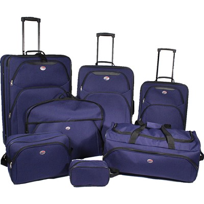 7 Piece Ultra Lightweight Deluxe Luggage Set- Blue