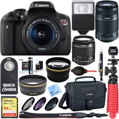 EOS Rebel T6i DSLR Camera EF-S 18-55mm & 55-250mm IS Lens + 64GB Accessory Kit