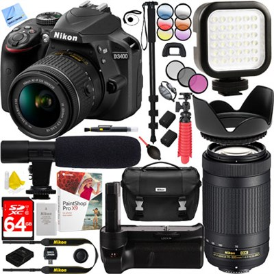 D3400 24.2MP Digital SLR Camera w/ AF-P 18-55mm VR & 70-300mm Dual Zoom Lens Kit