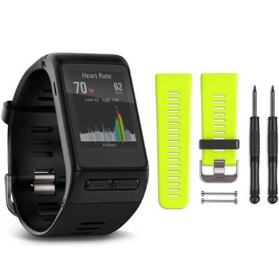 vivoactive HR GPS Smartwatch - Regular Fit (Black) Force Yellow Band Bundle