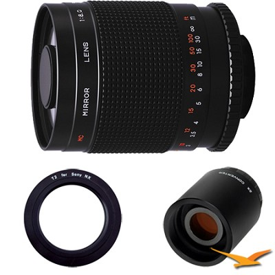 500M - 500mm f/8.0 Mirror Lens for Sony E-Mount (NEX) with 2x Multiplier
