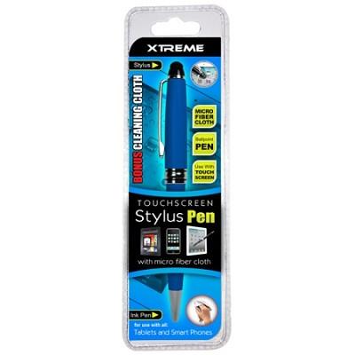 Touch Screen Stylus Pen w/ Micro Fiber Cloth - Blue