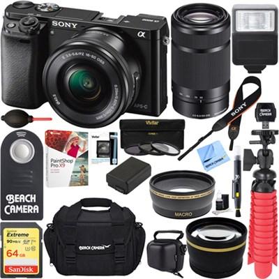 Alpha a6000 24.3MP Mirrorless Camera 16-50 + 55-210mm Zoom Lens 64GB Kit Black
